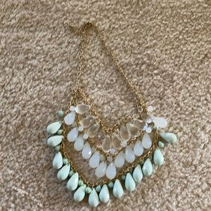 Mint Green and Clear Statement Necklace